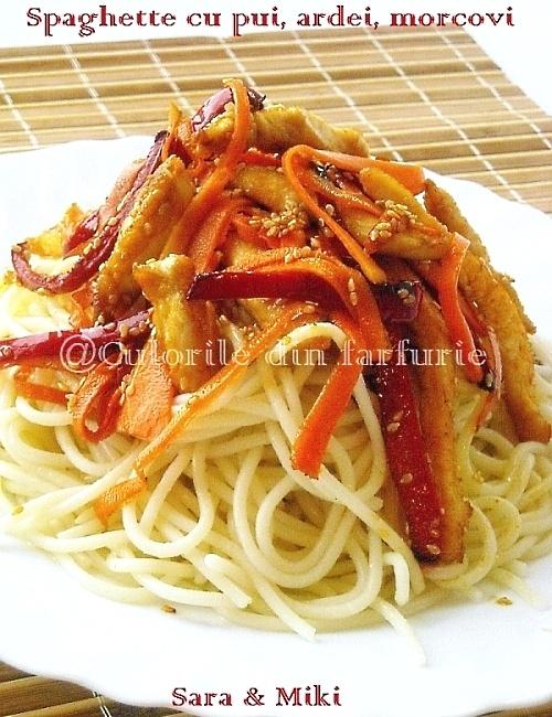 Spaghette cu pui, ardei, morcovi 2