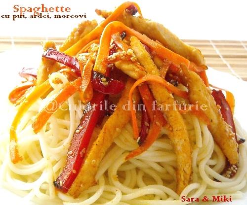 Spaghette cu pui, ardei, morcovi 4