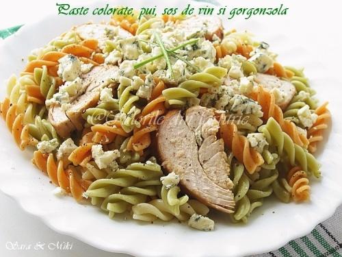 Paste colorate, pui, sos de vin si gorgonzola 5-1