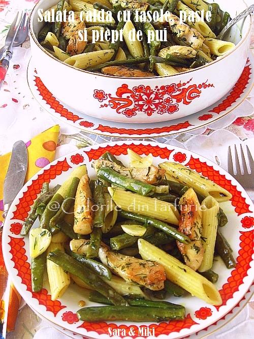 Salata-calda-cu-fasole, paste-si-piept-de-pui2