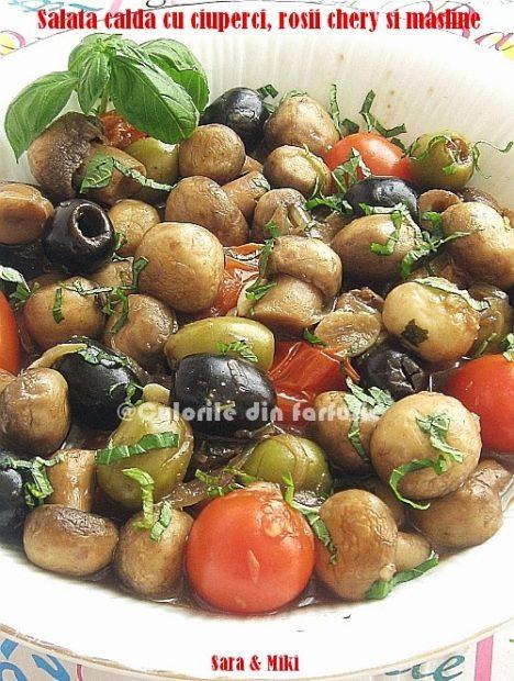 Salata-calda-cu-ciuperci-rosii-chery-si-masline0