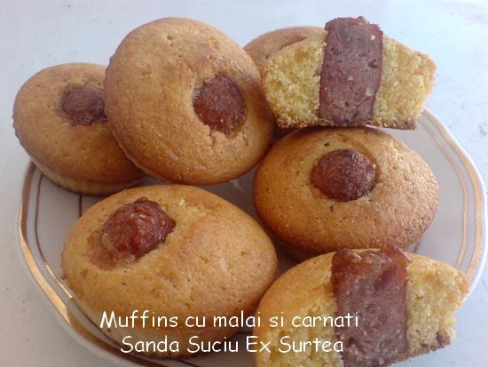 Muffins cu malai si carnat - Sanda Suciu Ex Surtea