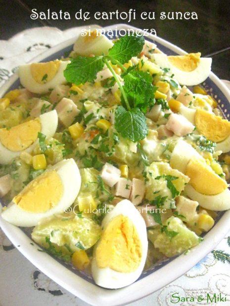 Salata de cartofi cu sunca si maioneza-1