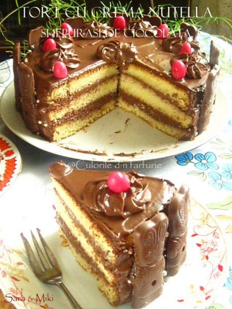 Tort-cu-crema-nutella-si-iepurasi-de-ciocolata-5