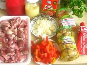 1. Ingredientele pentru tocanita.