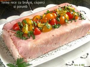10. Se decoreaza Terina rece cu branza, ciuperci si porumb cu rosii colorate.